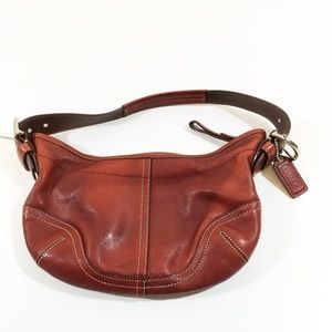 Coach Red Leather Soho Hobo Satchel Handbag Purse